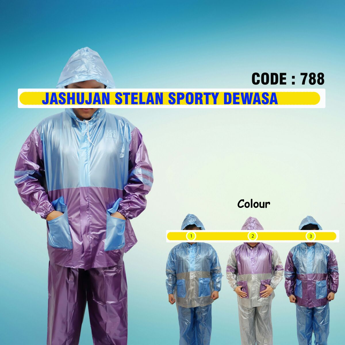 Jual Jas Hujan Setelan Sporty Dewasa Code 788